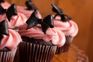 cupcake with ribbon