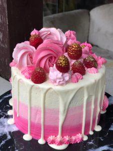 pink and cream vanilla cake