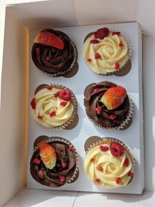 strawberry on cupcakes